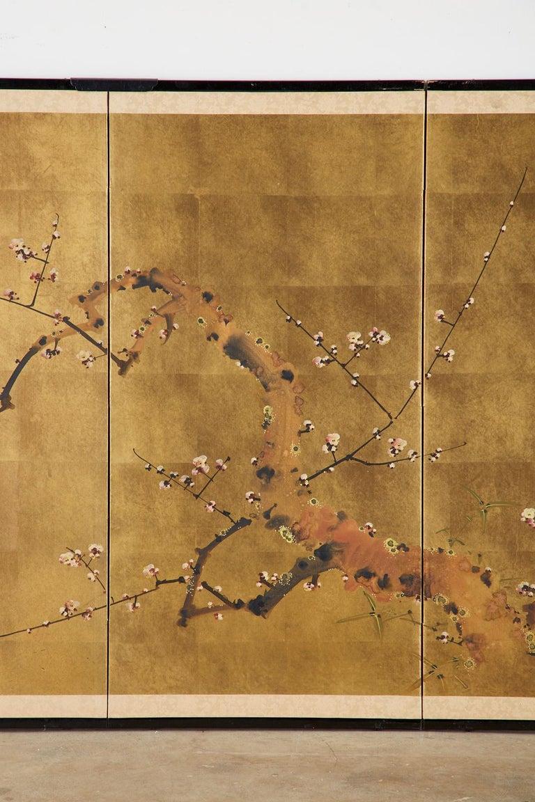 20th Century Japanese Four-Panel Showa Screen Flowering Plum Tree For Sale
