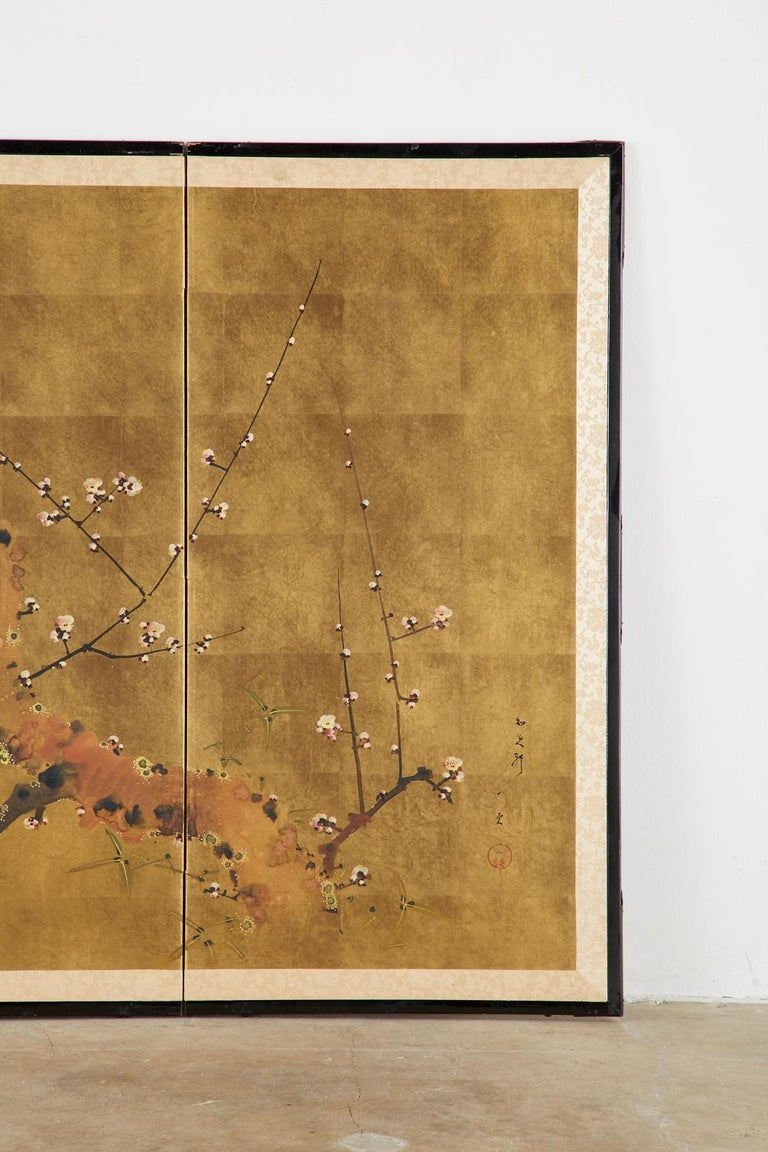 Paper Japanese Four-Panel Showa Screen Flowering Plum Tree For Sale