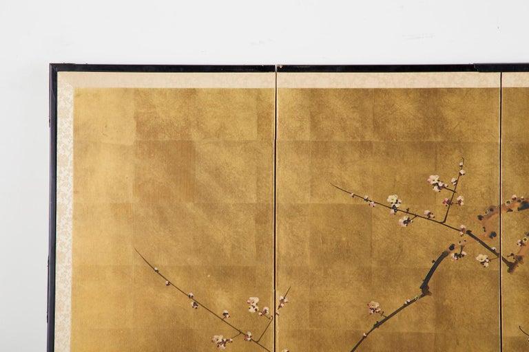 Japanese Four-Panel Showa Screen Flowering Plum Tree For Sale 1
