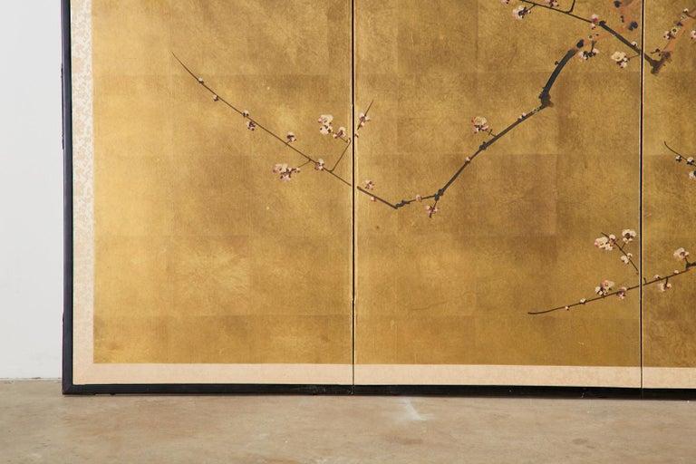 Japanese Four-Panel Showa Screen Flowering Plum Tree For Sale 2