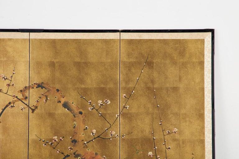 Japanese Four-Panel Showa Screen Flowering Plum Tree For Sale 3