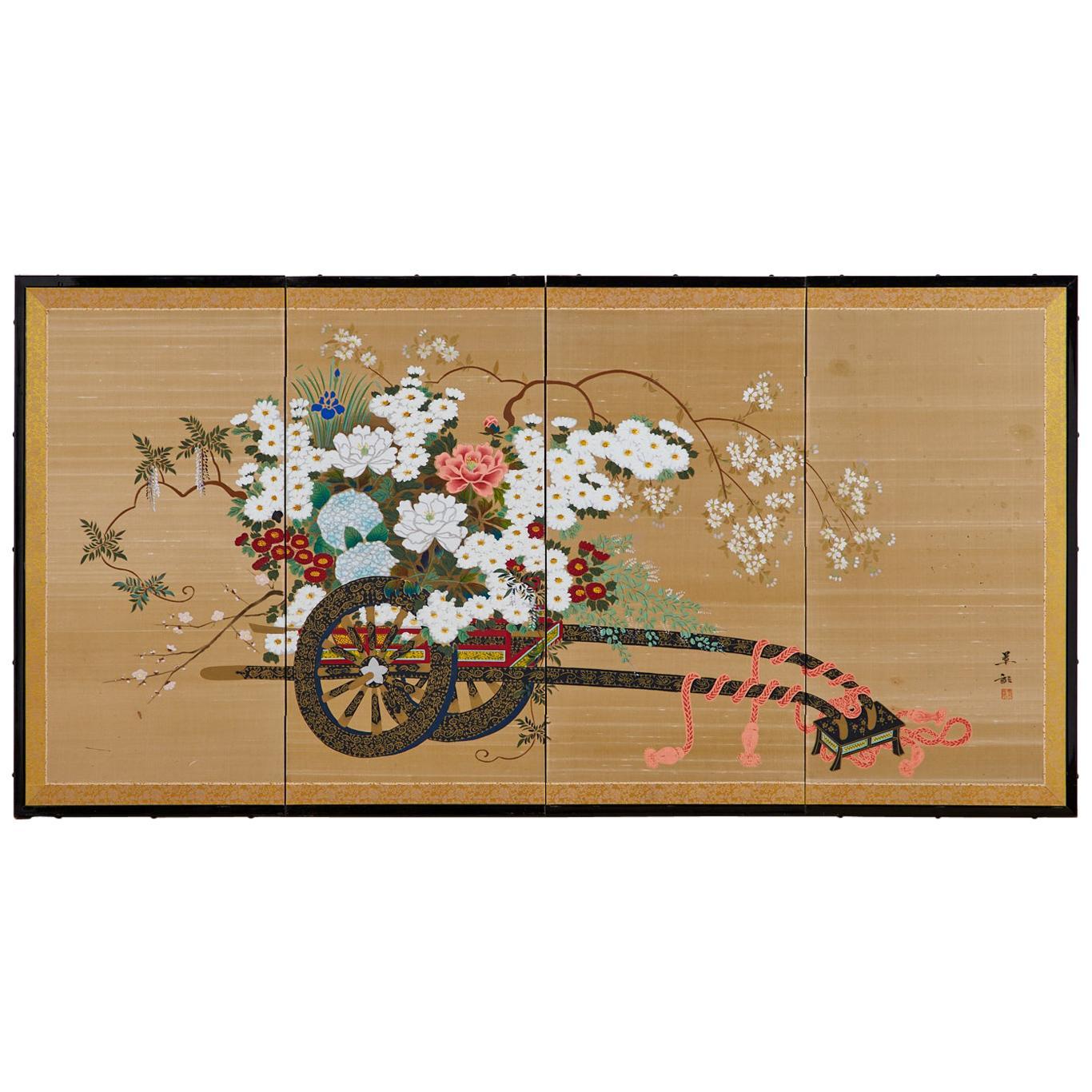Japanese Four-Panel Showa Screen Hanaguruma Flower Cart