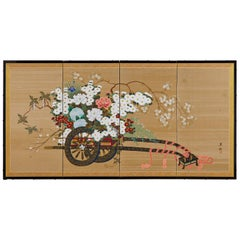 Japanese Four-Panel Showa Screen Hanaguruma Flower Cart