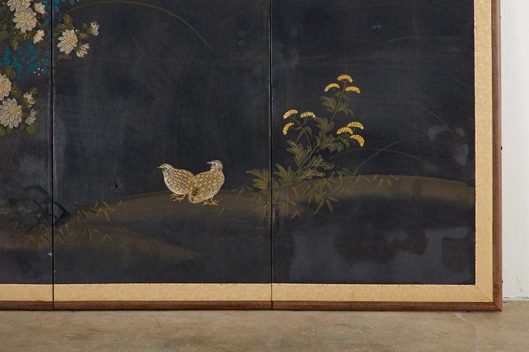 Japanese Four-Panel Showa Screen Quail Floral Landscape For Sale 4