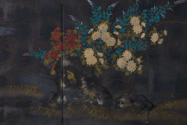Japanese Four-Panel Showa Screen Quail Floral Landscape For Sale 5