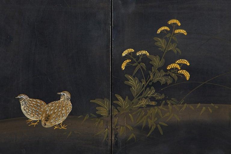 Japanese Four-Panel Showa Screen Quail Floral Landscape For Sale 6