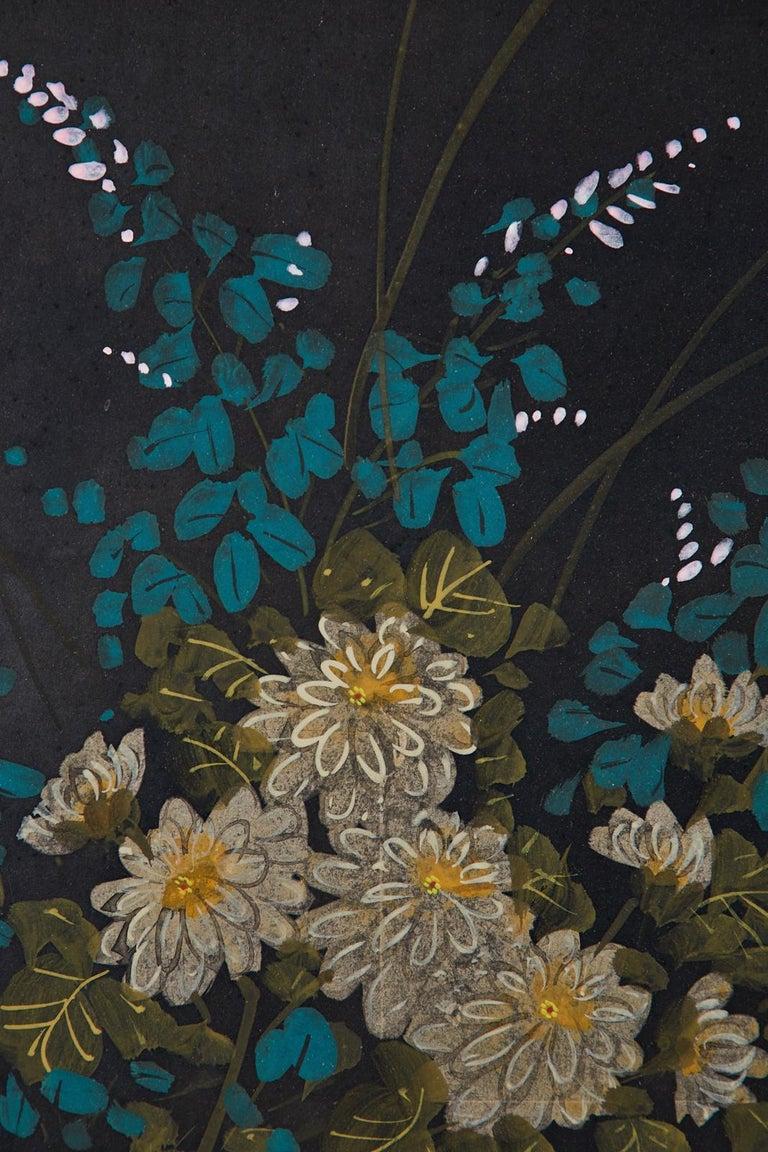Japanese Four-Panel Showa Screen Quail Floral Landscape For Sale 7