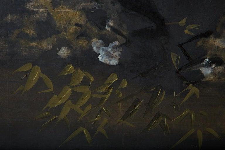 Japanese Four-Panel Showa Screen Quail Floral Landscape For Sale 8