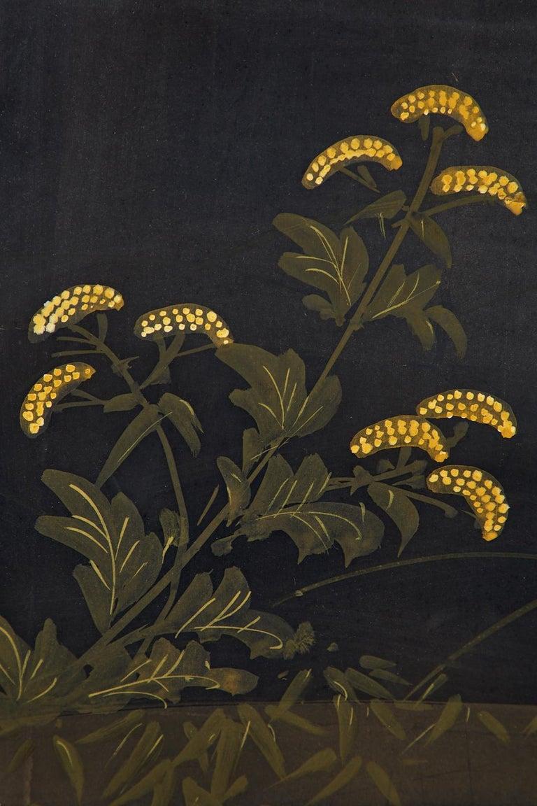 Japanese Four-Panel Showa Screen Quail Floral Landscape For Sale 12