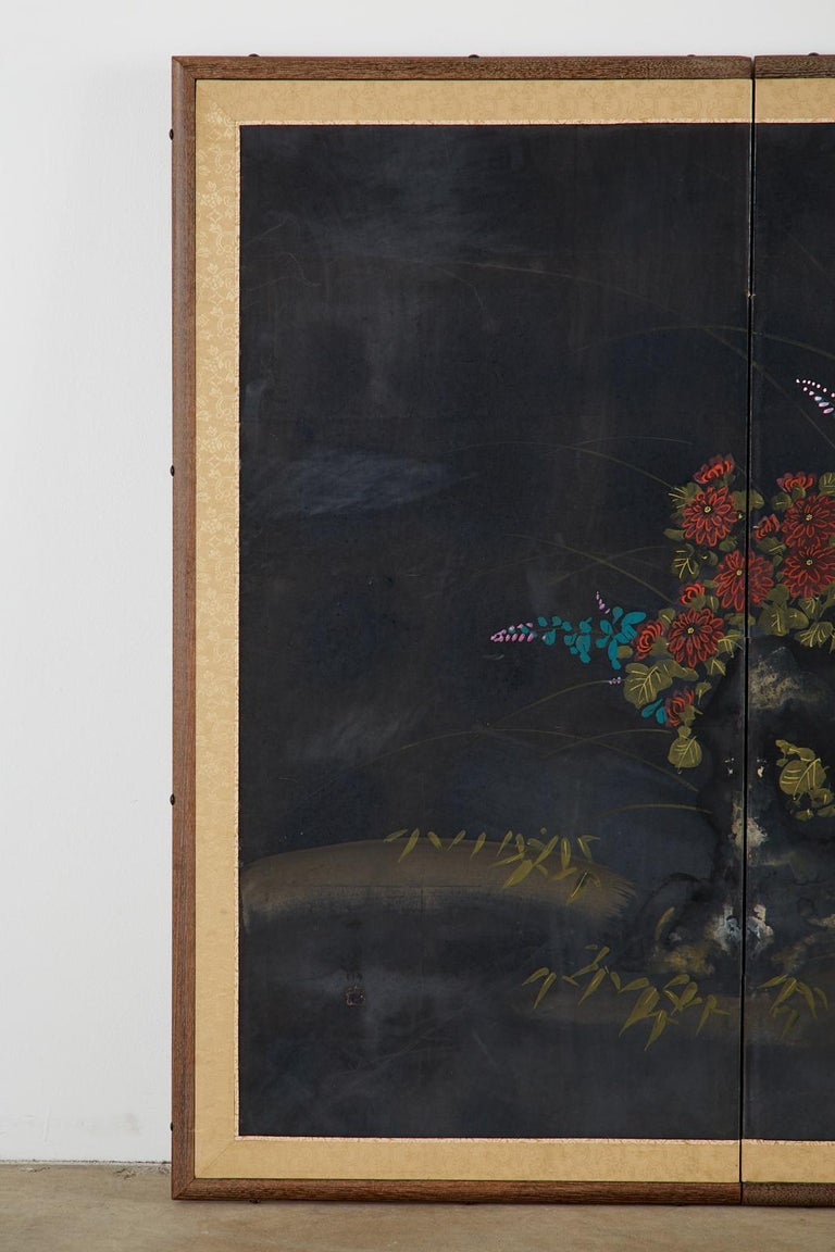 Hand-Crafted Japanese Four-Panel Showa Screen Quail Floral Landscape For Sale