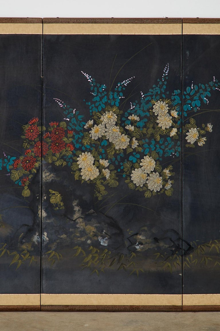 Japanese Four-Panel Showa Screen Quail Floral Landscape In Good Condition For Sale In Oakland, CA