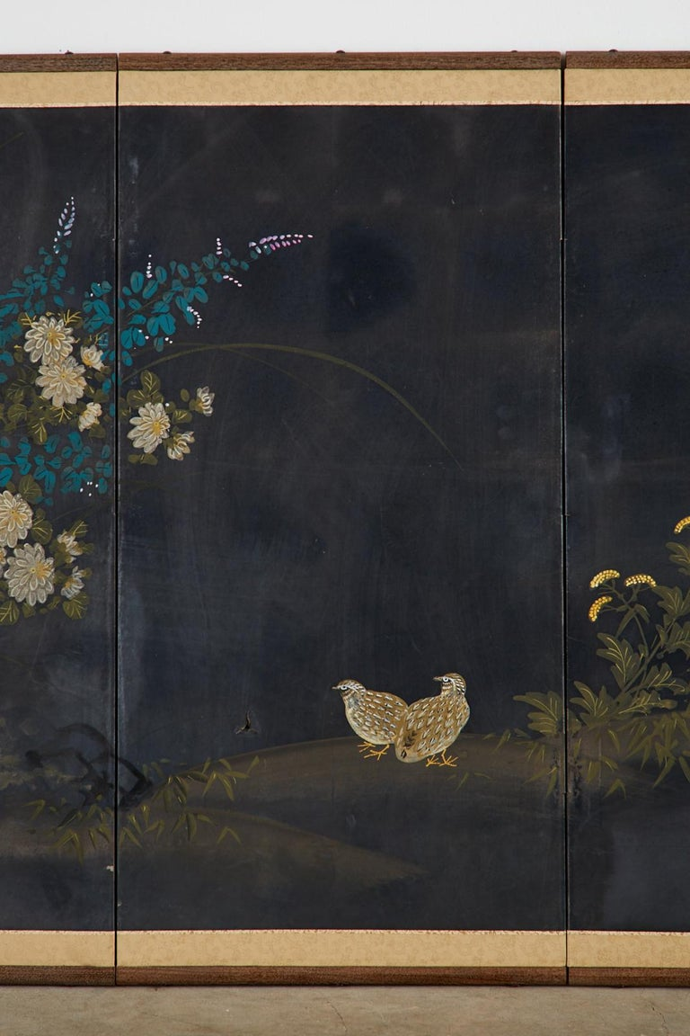 20th Century Japanese Four-Panel Showa Screen Quail Floral Landscape For Sale