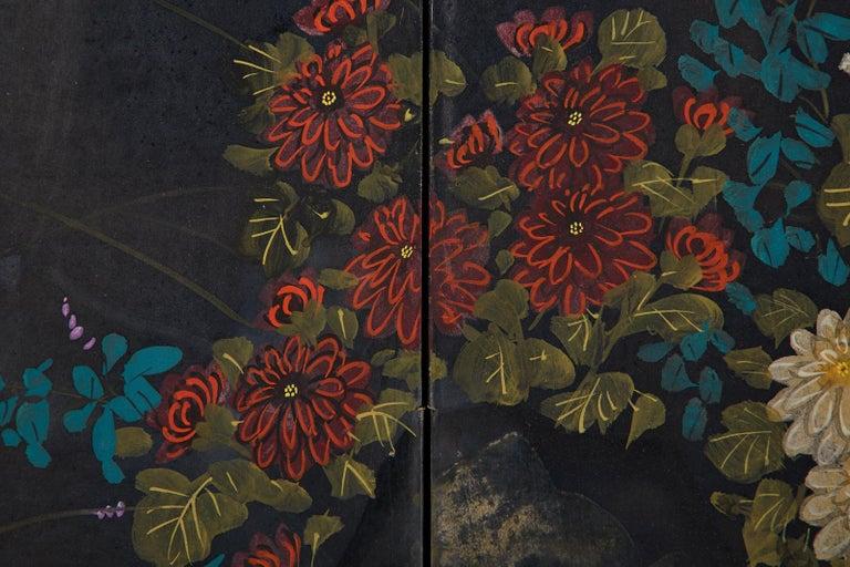 Wood Japanese Four-Panel Showa Screen Quail Floral Landscape For Sale