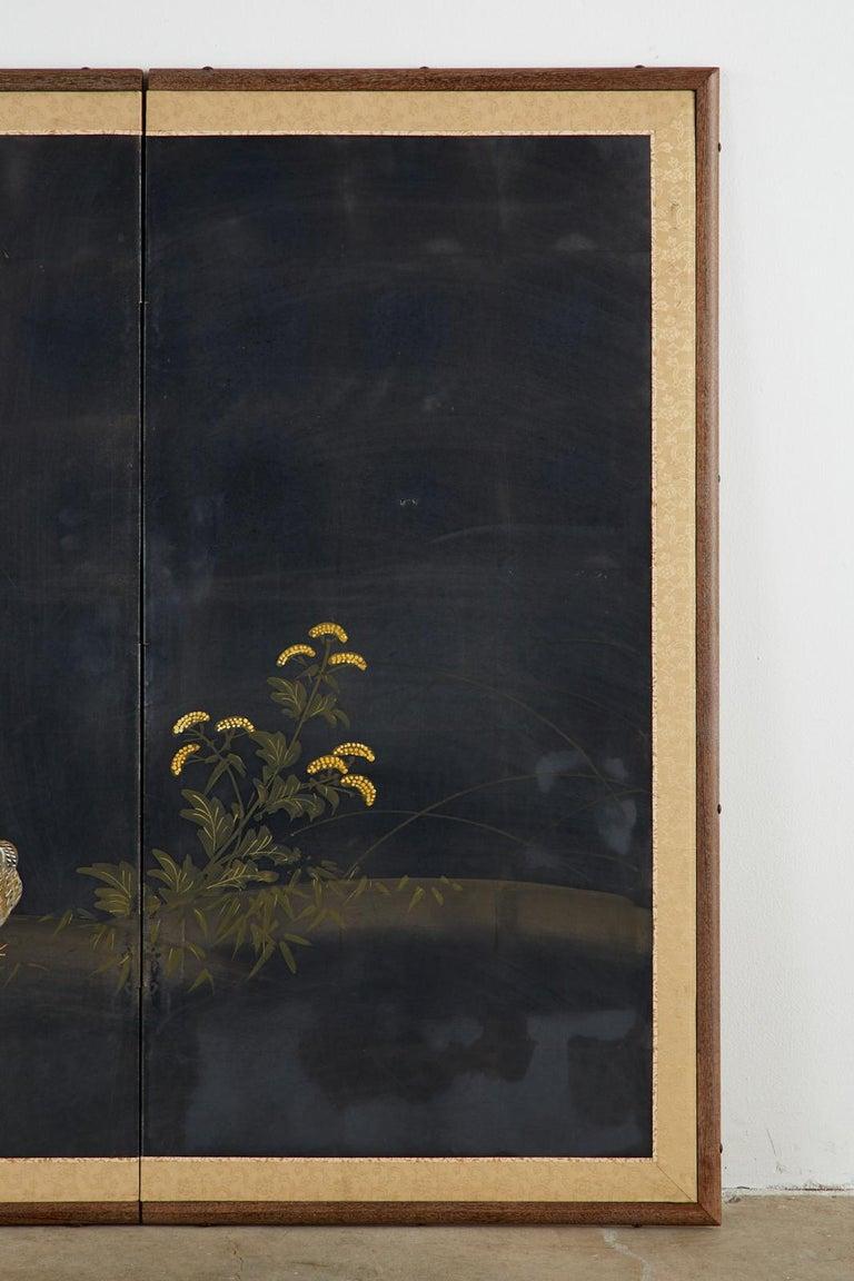 Japanese Four-Panel Showa Screen Quail Floral Landscape For Sale 1