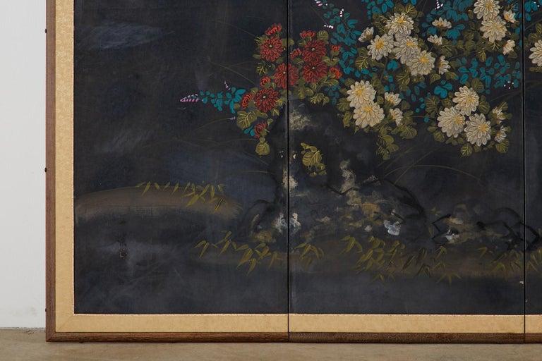 Japanese Four-Panel Showa Screen Quail Floral Landscape For Sale 2