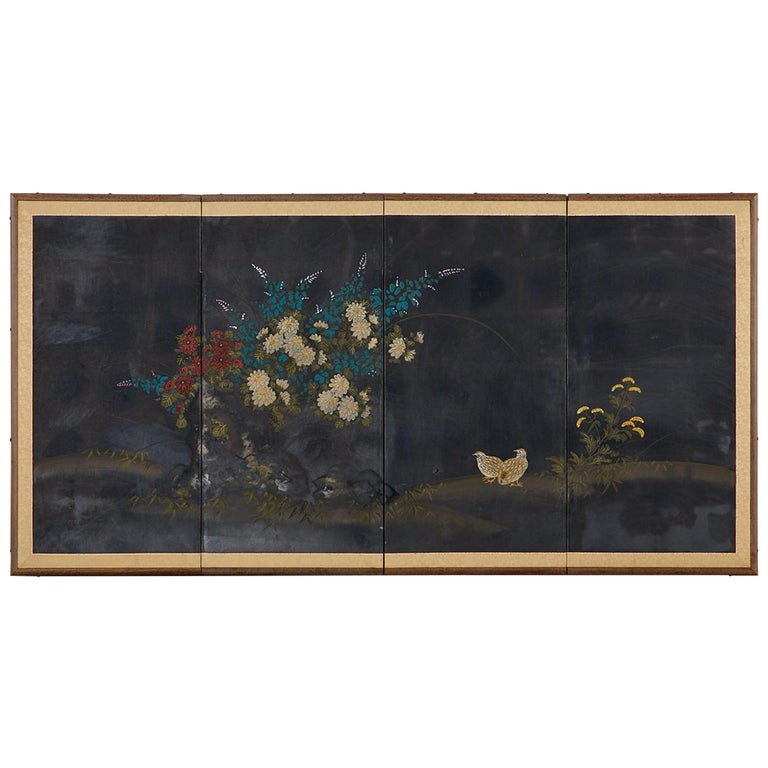 Japanese Four-Panel Showa Screen Quail Floral Landscape For Sale