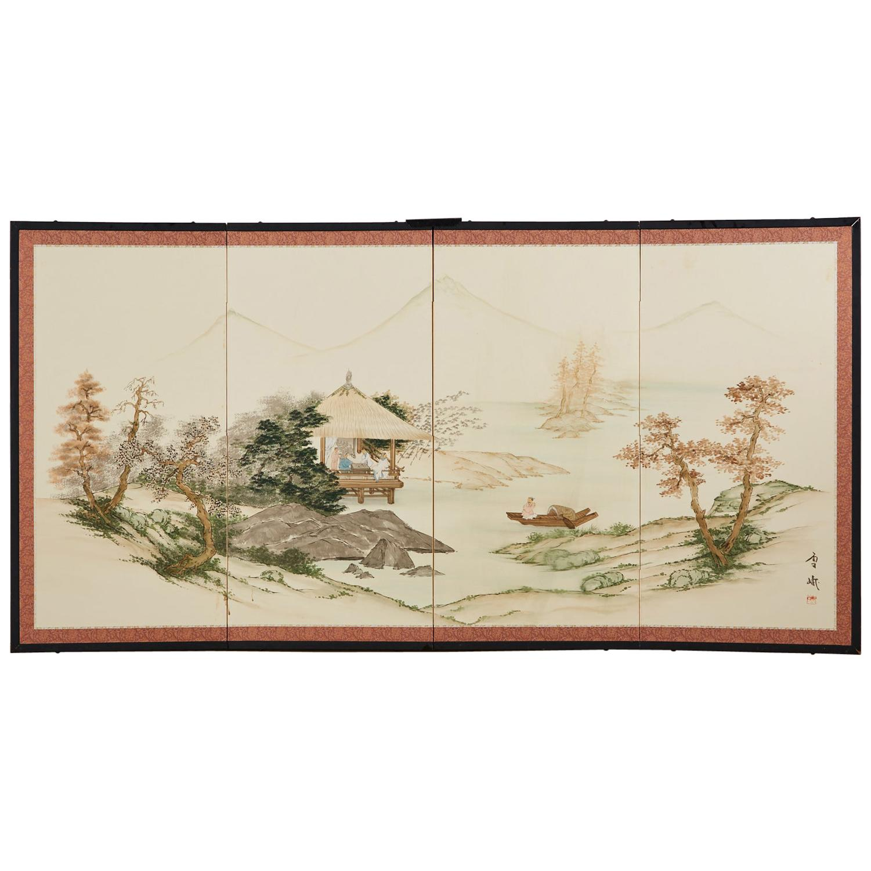 Japanese Four Panel Showa Screen Retreat Mountain Landscape