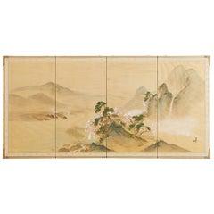 Japanese Four-Panel Silk Landscape Byobu Screen