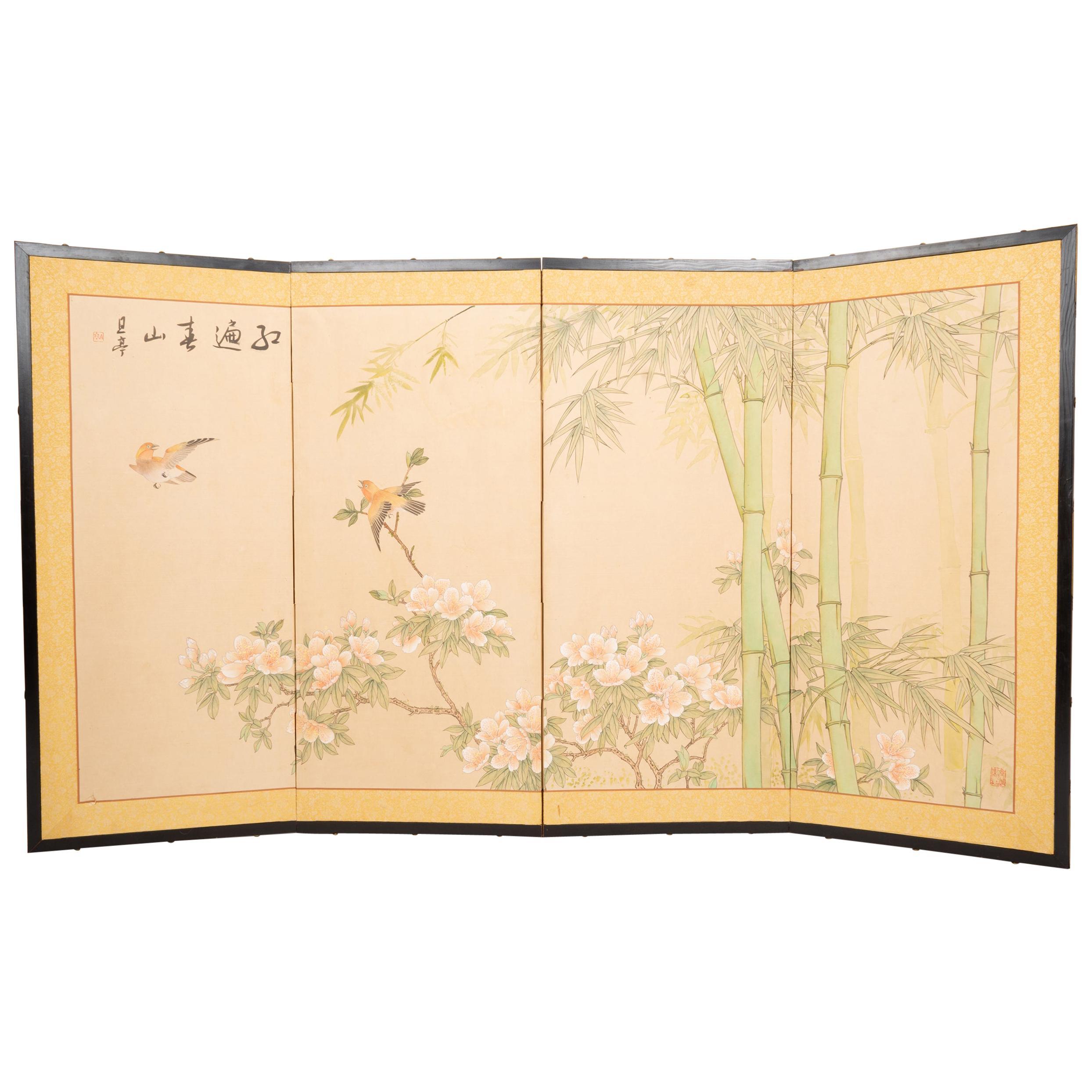 Japanese Four Panel Taisho Period Screen Bamboo & Blossom, circa 1920