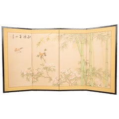 Japanese Four Panel Taisho Period Screen Bamboo & Blossom, circa 1920