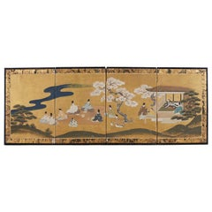 Japanese Four Panel Tales of Genji Painted Screen