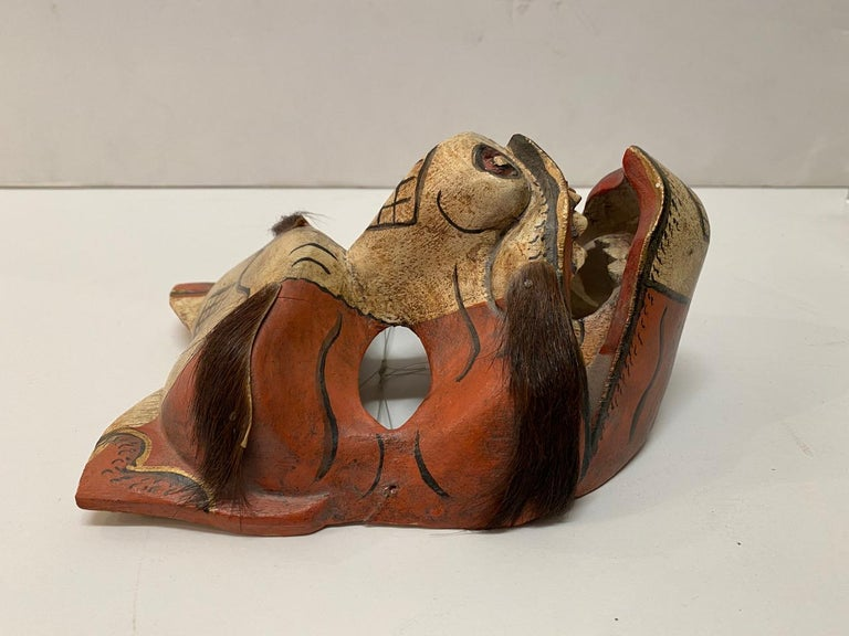 Wood Japanese Fox Mask, Early 20th Century For Sale