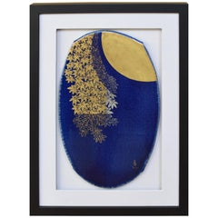 Japanese Framed Blue Gilded Kutani Ceramic Tablet by Master Artist, circa 2005