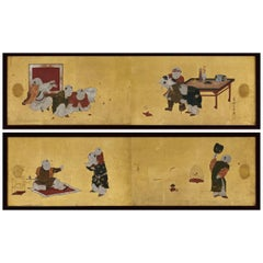 Japanese Framed Panels, Chinese Children at Play, Kano School, circa 1850