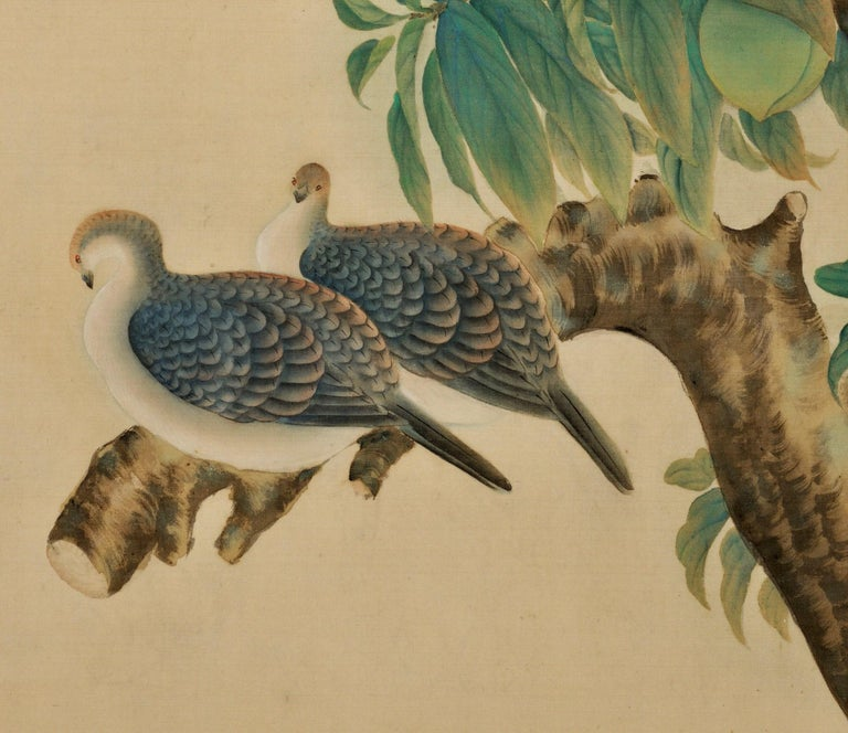 Hand-Painted Japanese Framed Silk Painting, Turtledoves and Peaches, Taisho Era, circa 1920 For Sale
