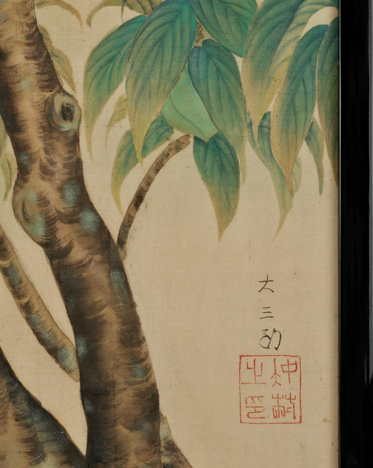 1910s Japanese Framed Silk Painting, Turtledoves and Peaches, Taisho Era, circa 1920 For Sale