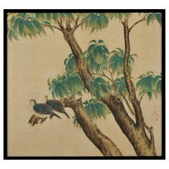 Japanese Framed Silk Painting, Turtledoves and Peaches, Taisho Era, circa 1920