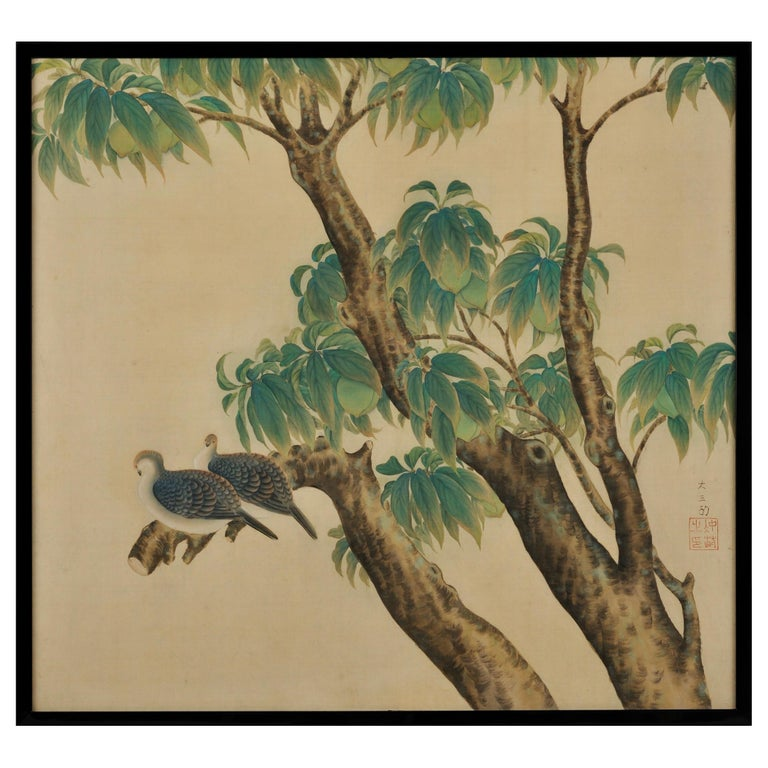 Japanese Framed Silk Painting, Turtledoves and Peaches, Taisho Era, circa 1920 For Sale