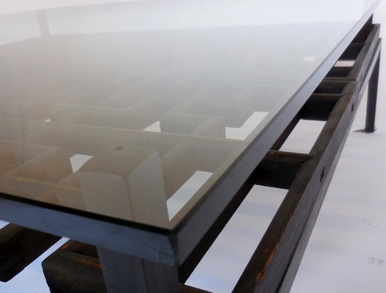 Japanese Fret Work Wooden Lattice Coffee Table with Glass Top For Sale 5