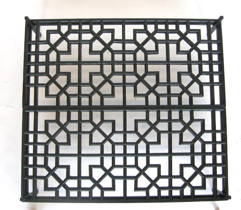 Anglo-Japanese Japanese Fret Work Wooden Lattice Coffee Table with Glass Top For Sale