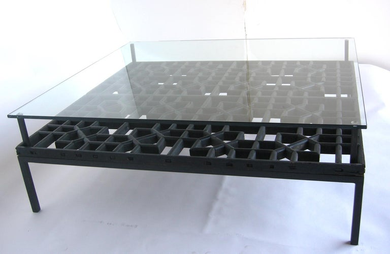 19th Century Japanese Fret Work Wooden Lattice Coffee Table with Glass Top For Sale