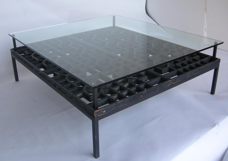 Japanese Fret Work Wooden Lattice Coffee Table with Glass Top For Sale 1