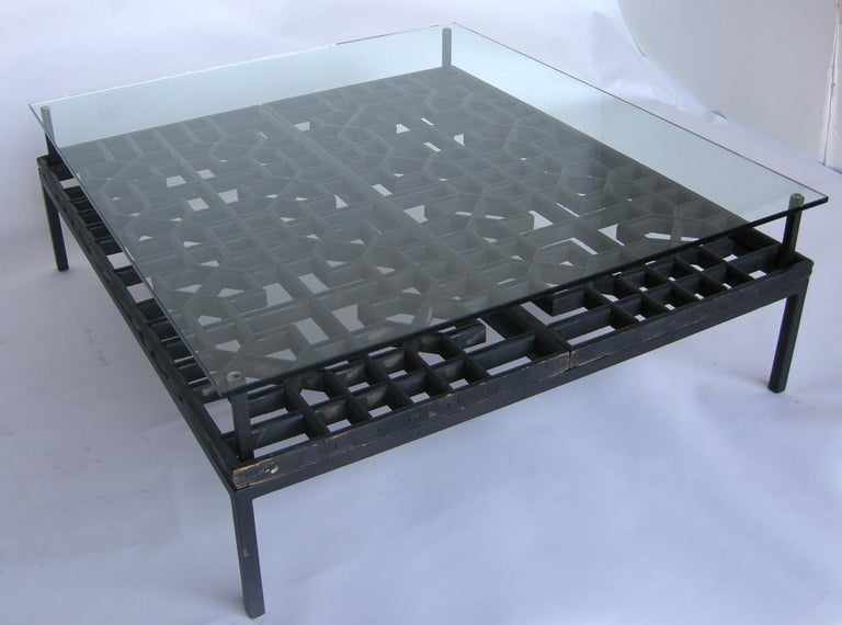 Japanese Fret Work Wooden Lattice Coffee Table with Glass Top For Sale 2
