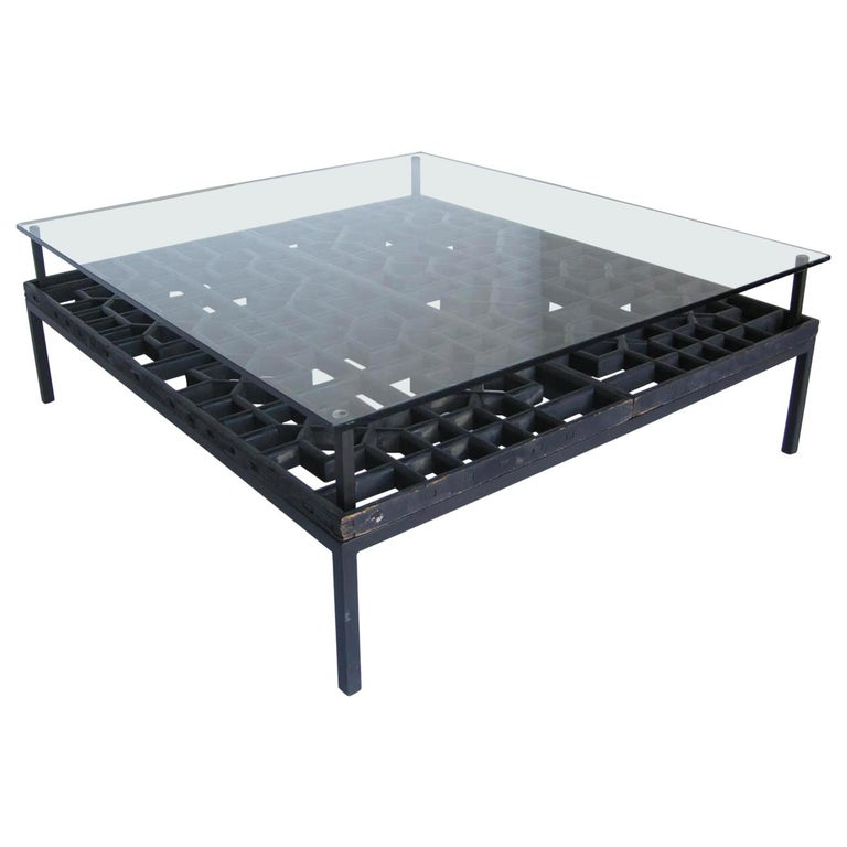 Japanese Fret Work Wooden Lattice Coffee Table with Glass Top For Sale