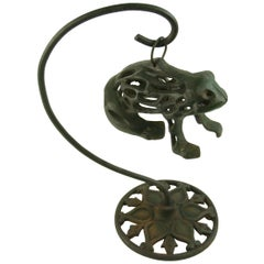 Japanese Garden Iron Frog  Sculpture on Hanging Pedestal