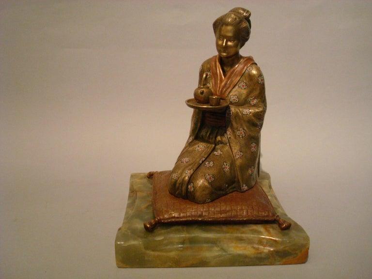 Japanese Geisha Bronze Metamorphic Erotic Figure, Made in Austria by F. Bergmann For Sale 3