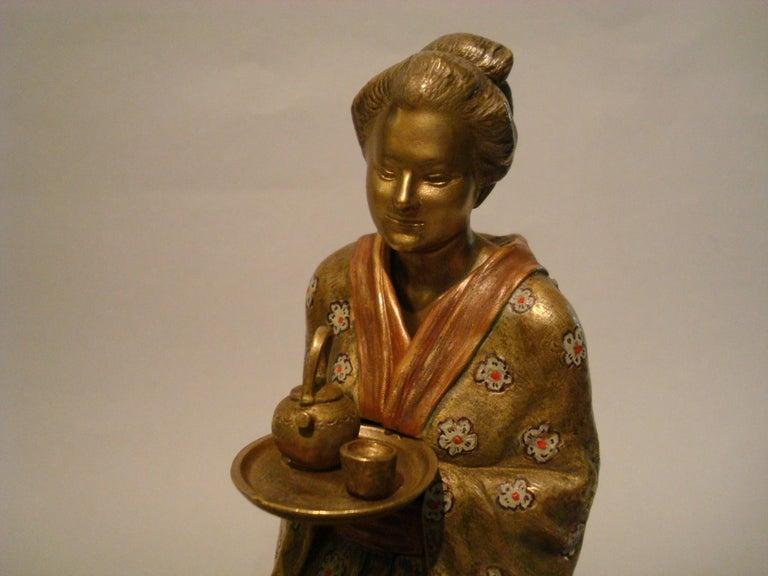 Japanese Geisha Bronze Metamorphic Erotic Figure, Made in Austria by F. Bergmann For Sale 4