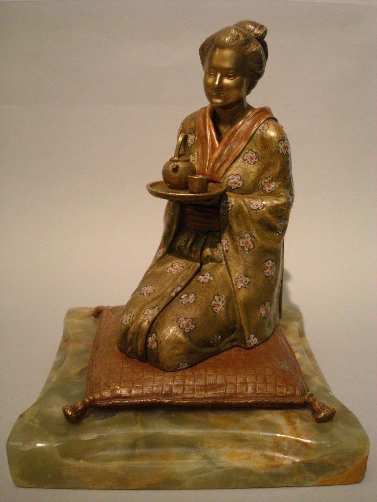 Japanese Geisha Bronze Metamorphic Erotic Figure, Made in Austria by F. Bergmann For Sale 5