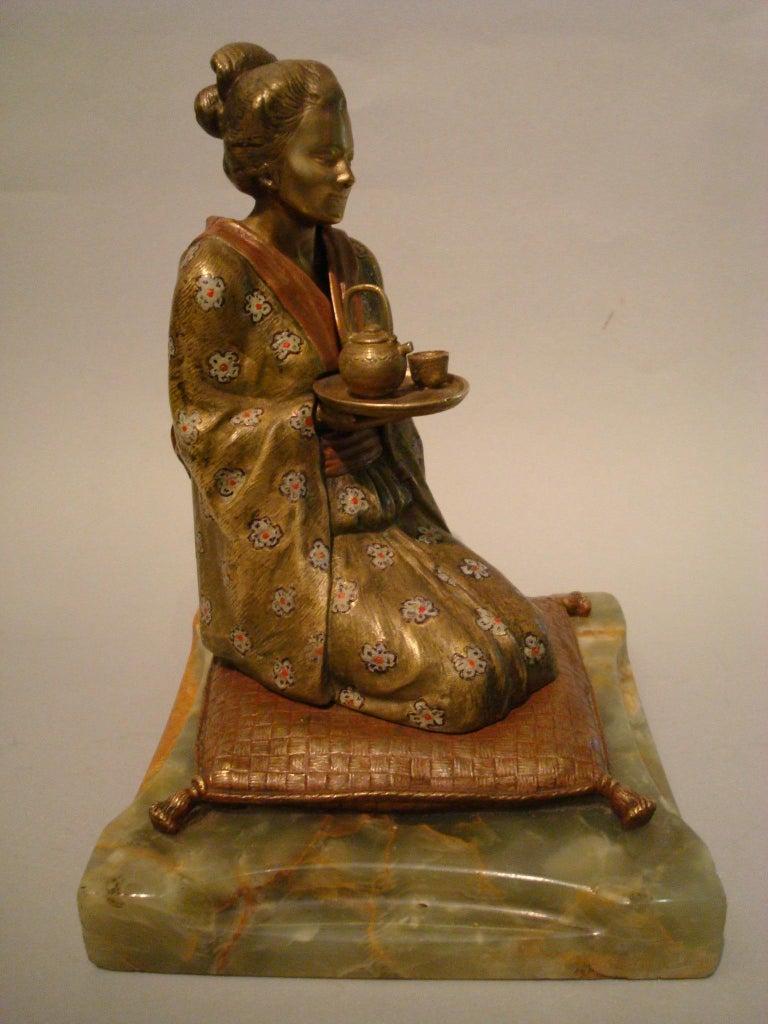 Austrian Japanese Geisha Bronze Metamorphic Erotic Figure, Made in Austria by F. Bergmann For Sale