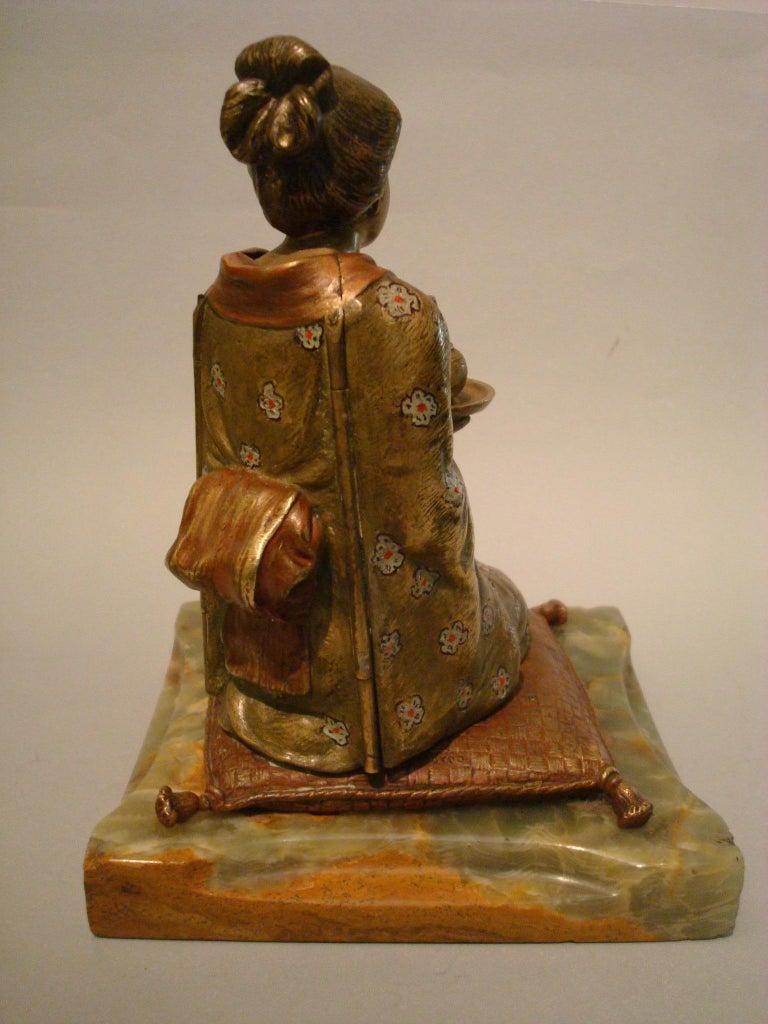 Polychromed Japanese Geisha Bronze Metamorphic Erotic Figure, Made in Austria by F. Bergmann For Sale
