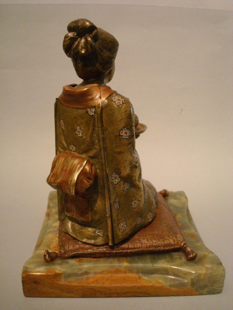 Japanese Geisha Bronze Metamorphic Erotic Figure, Made in Austria by F. Bergmann In Good Condition For Sale In Buenos Aires, Olivos