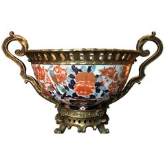 Japanese Giant Imari Export Porcelain Bowl with French Bronze Ormolu Mount