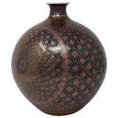 Japanese Gilded Black Red Porcelain Vase by Contemporary Master Artist