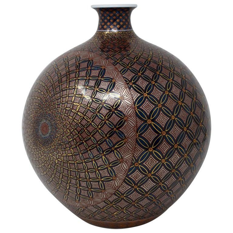 Japanese Gilded Black Red Porcelain Vase by Contemporary Master Artist For Sale