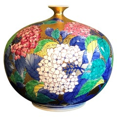 Japanese Red White Green Gold Porcelain Vase by Contemporary Master Artist