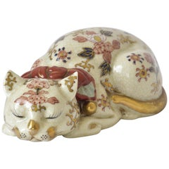 Japanese Gilded Pink Red Vintage Porcelain Sleeping Cat, circa 1930
